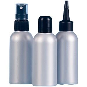 leere 80 ml Flasche in silber